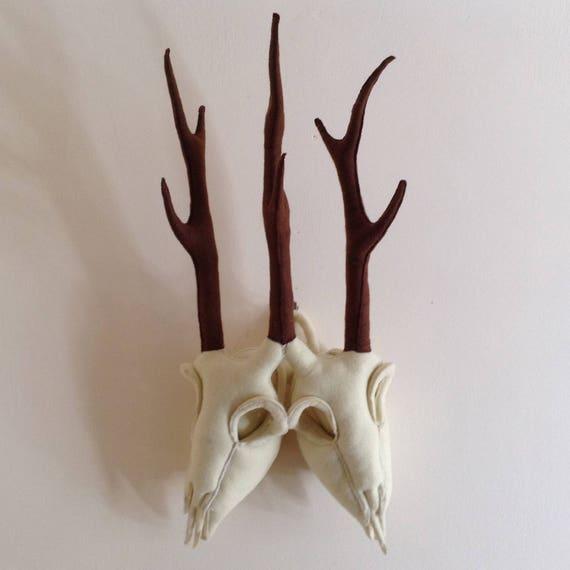 Sewn Bone – Two Headed Deer Skull  Faux Taxidermy Fabric Wall Mount,  Vegetarian Ornament, Quirky Gifts, Weird Stuff, Curiosities & Oddities