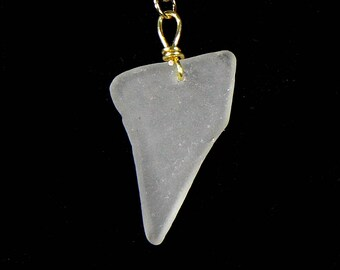 Simple white sea-glass fang pendant