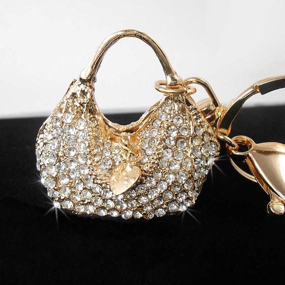 Rhinestone Crystal Keyring Charm Pendant Purse Bag Key Ring Keychain Bling Oma