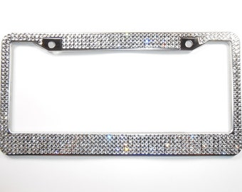 Rhinestone Bling License Plate Frame, Clear 5 Row w/Screw Cap Covers, Crystal Car Accessories, Gift For Women, Car Bling By Bling Car Decor