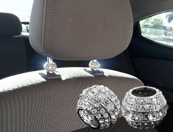 8 Pieces Car Headrest Collars Rings Crystal Car Seat Headrest Rings Crystal Rhinestone Rings Shiny Auto Engine Button Decoration for Car Interior Accessories