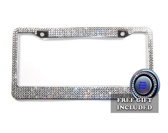 Bling License Plate Frame, 5 mm Glass Crystal Rhinestones + Screw Cap Covers + FREE Bling Ring Button Emblem, Women Car Accessories Gift