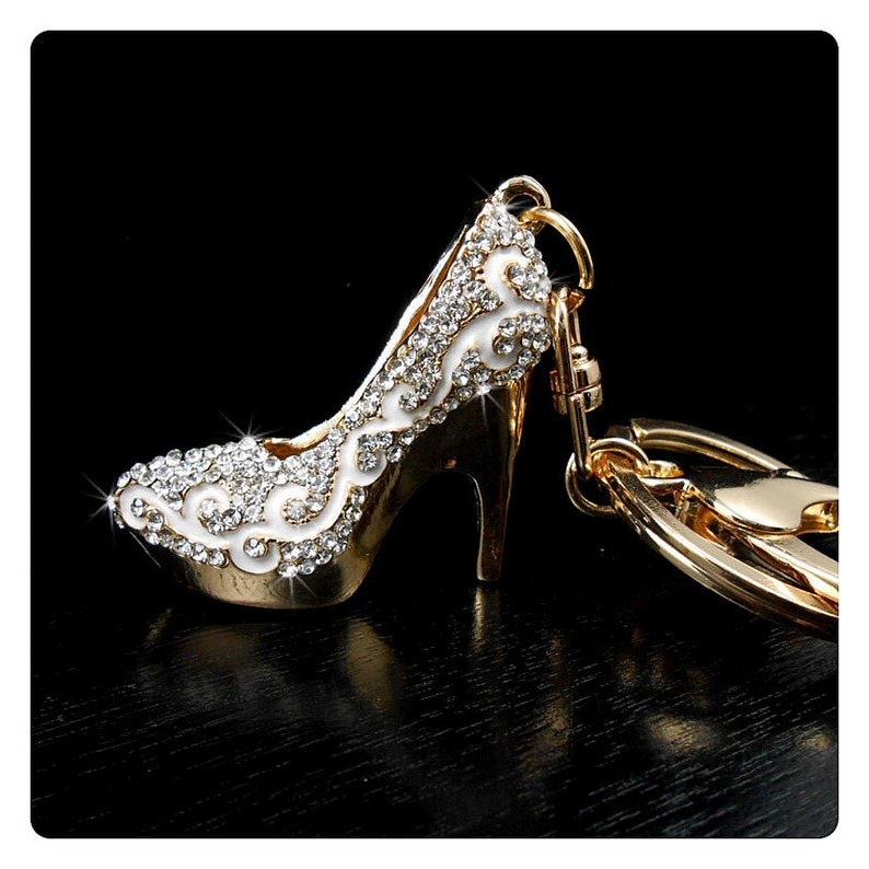 Handbagamp; WomenBling Heel High Purse Crystal Decor Shoe Accessories Accessory Rhinestone Keychain CharmWhite Backpack Car For 4ARjcL35q