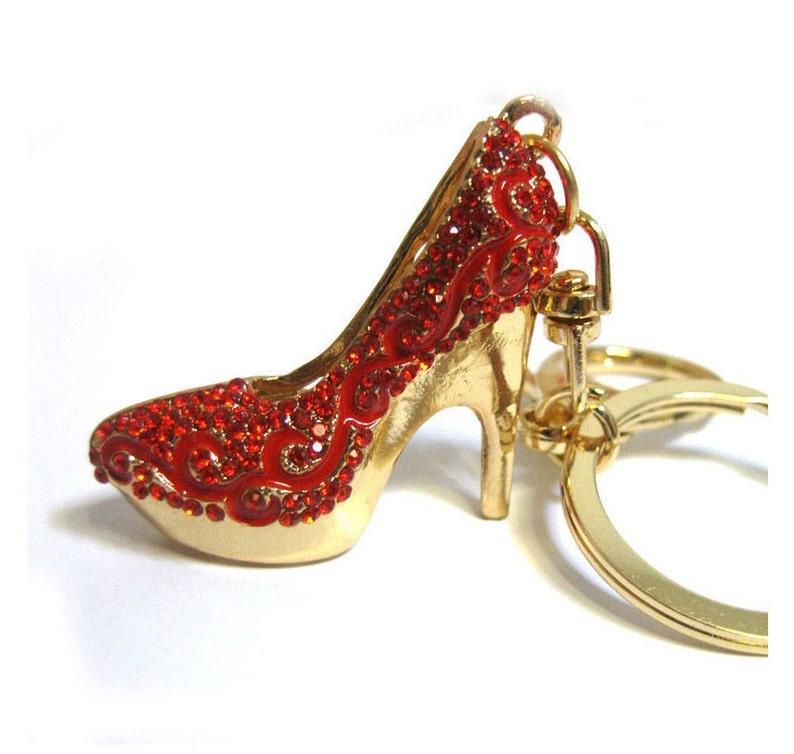 Crystal High Heel Shoe Keychain Purse Charm Red Handbag    8e4680d96df8