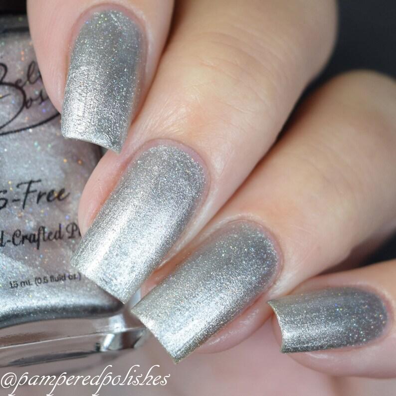 Quicksilver Gorgeous Metallic Silver Nail Polish with Tiny | Etsy