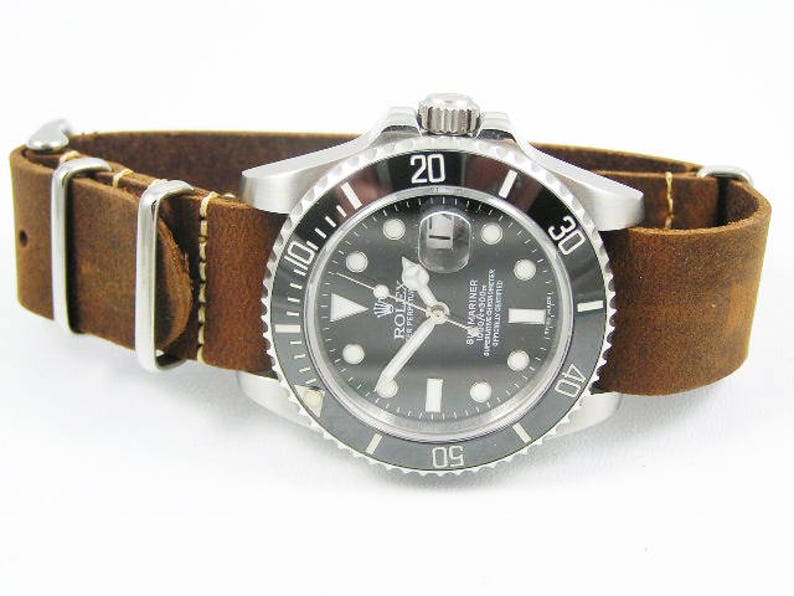 7210fce0d02 Superb handmade leather Nato® watch strap for Rolex Submariner   Etsy