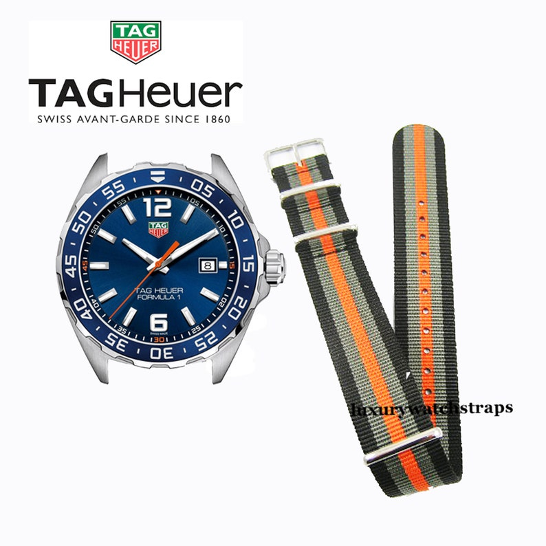 38688b98894b Superb Nato® watch strap for Tag Heuer Aqua Racer Formula One Carrera watch  (No watch - STRAP only)
