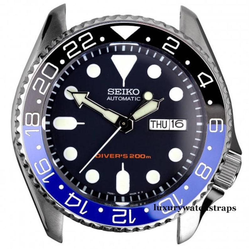Custom made GMT Batman Blue Black & pesi bezelceramic bezel for Seiko  Divers Watch 6309 7002 7S26 (specific models) SKX007 SKX009
