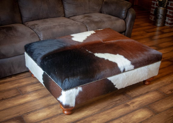 Astounding Genuine Cow Hide Cowhide Hair On Hide Ottoman Footstool Chair Bench Furniture Coffee Table Leather Black Brown White 42 X 33 X15 Inches Theyellowbook Wood Chair Design Ideas Theyellowbookinfo