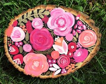 Floral Wood Slice Painting