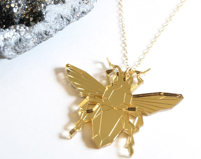 Laser Cut Gold Mirror Acrylic Bee Necklace / Geometric & Modern / Futuristic Jewelry / Insect Accessories / Minimalist / Low Poly
