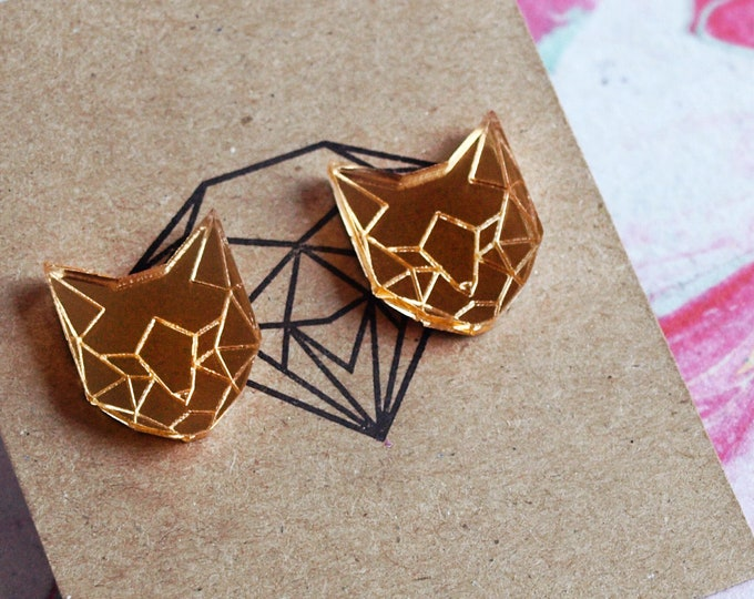 Laser Cut Gold Mirror Acrylic Geometric Cat Earrings / Low Poly / Stainless Steel Posts / Cat Jewelry / Minimalist / Stud Earrings