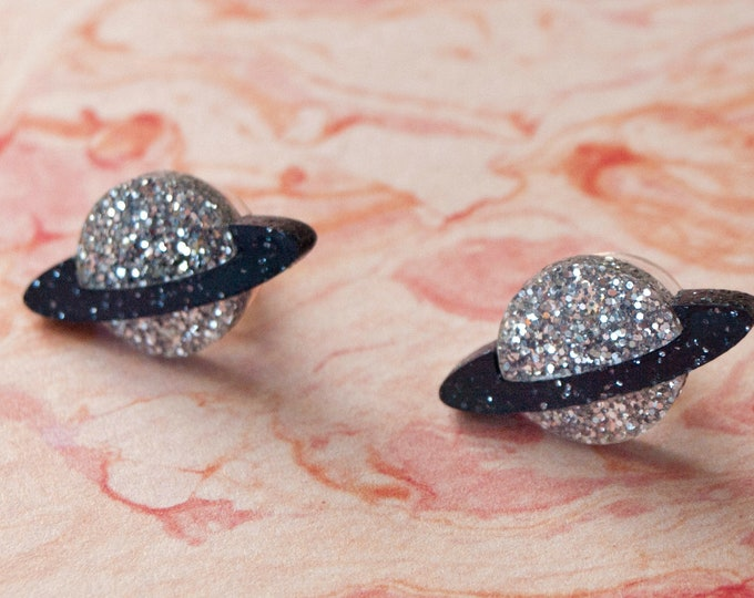Silver & Black Glitter Cut Acrylic Saturn Earrings / Planet Stud Earrings / Space Earrings / Galaxy Jewelry / Sparkly Celestial Earrings