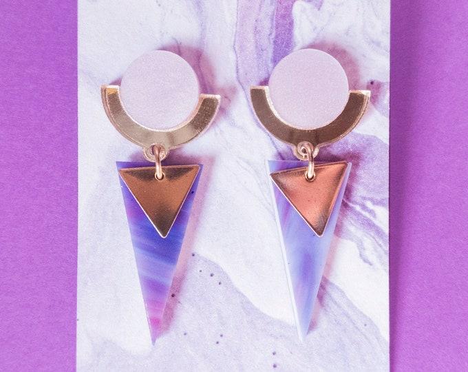Laser Cut Acrylic Geometric Dangle Earrings / Pink Gold Mirror Triangle Statement Earrings / Art Deco Earrings  / Minimalist Earrings