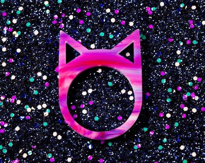 Galaxy Swirl Laser Cut Cat Ring / Geometric Cat Jewelry / Minimalist Ring / Space Cat Jewelry / Aesthetic Ring / Galaxy Acrylic Cat Ring
