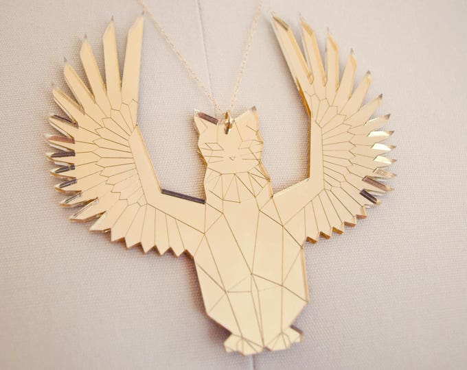 Laser Cut Egyptian Gold Mirror Acrylic Winged Cat Necklace / Futuristic Jewelry / Geometric Statement Necklace / Cat Jewelry / Low Poly