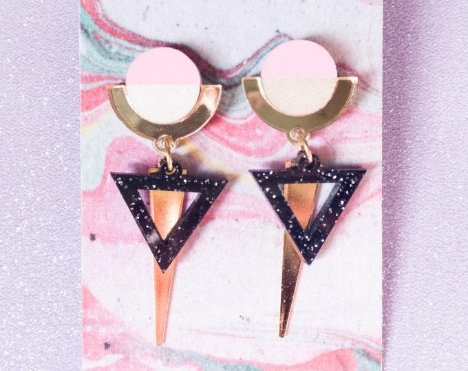 Laser Cut Wood Acrylic Geometric Dangle Earrings / Gold Mirror Triangle Statement Earrings / Art Deco Earrings / Minimalist Earrings