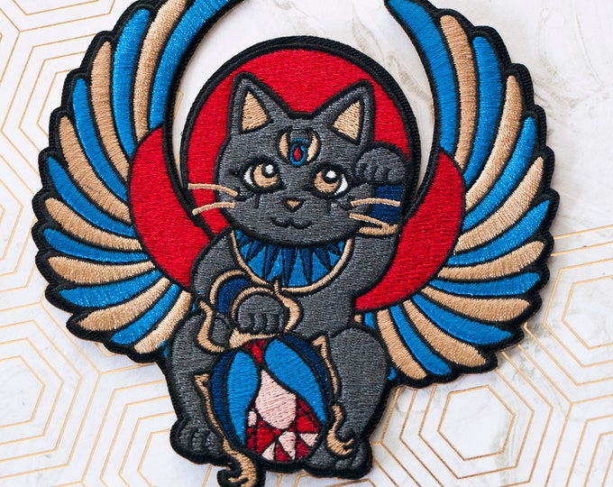 Egyptian Lucky Cat Embroidered Patch / Maneki Neko Wings Patch / Scarab Beetle / Japanese Inspired