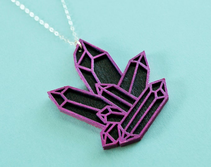 Laser Cut Iridescent Purple Black Quartz Cluster Necklace / Wooden Hand Painted Geometric Crystal Pendant / Sterling Silver Chain / Low Poly