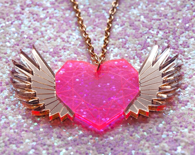 Winged Heart Magical Girl Neon Pink and Gold Laser Cut Necklace / Sailor Moon Inspired Jewelry / Geometric Heart Pendant / Kawaii Jewelry