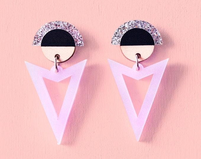 Laser Cut Acrylic & Wood Geometric Dangle Earrings / Glitter Pastel Triangle Statement Earrings / Art Deco Earrings  / Minimalist Earrings