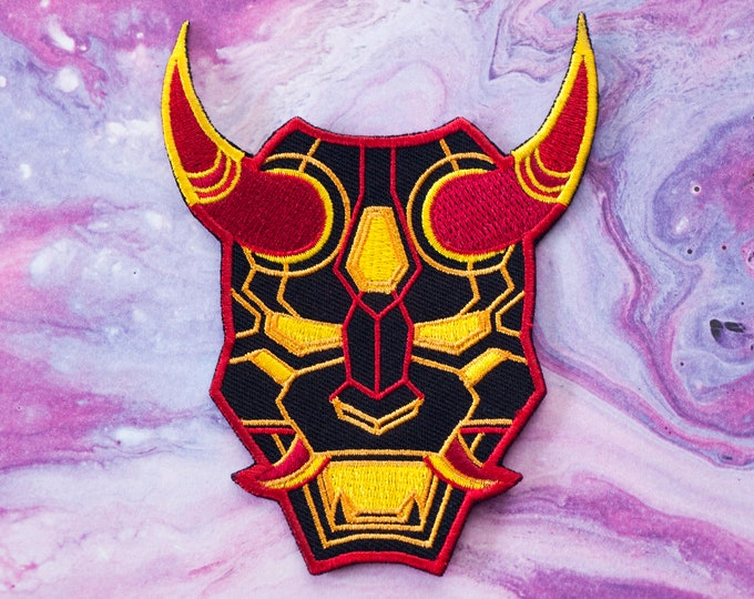Mecha Oni Mask Embroidered Patch / Neon Red Demon Mask / Japanese Inspired / Aesthetic Patches / Cyberpunk Patch / Geometric / Futuristic