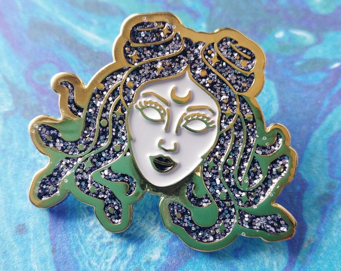 Galactic Medusa High Quality Glitter & Gold Enamel Pin / Space Accessories / Lapel Pin / Aesthetic Pin