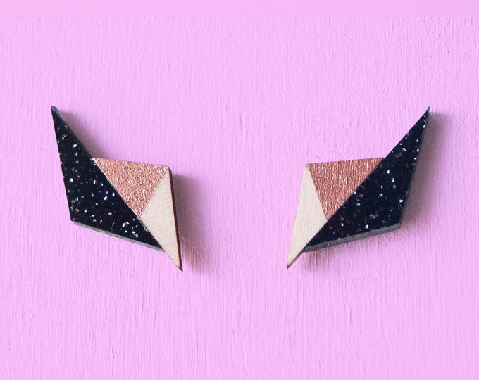 Laser Cut Acrylic Black Sparkle & Rose Gold Hand Painted Wood Geo Stud Earrings / Minimalist Geometric Earrings / Metallic Glitter Earrings