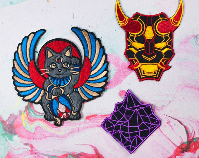 PATCH BUNDLE ALL 3 / Mecha Oni Mask / Synthwave Mountain / Egyptian Maneki Neko Lucky Cat Embroidered Patch / Aesthetic Patches / Japanese