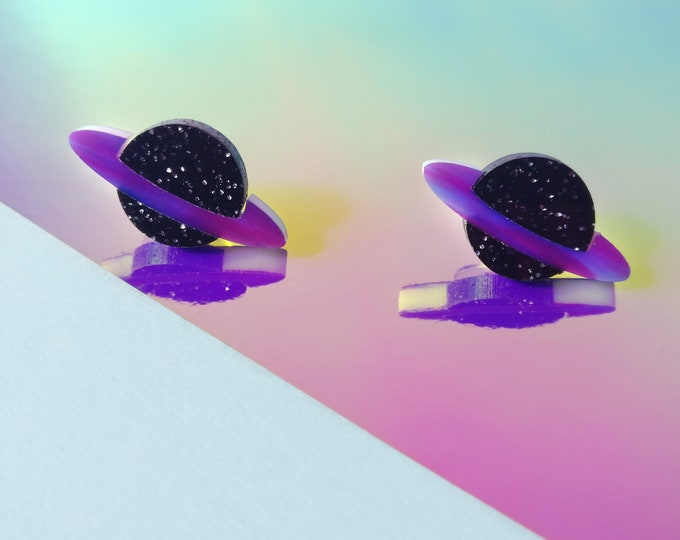Laser Cut Acrylic Black Glitter Saturn Earrings / Planet Stud Earrings / Space Earrings / Galaxy Jewelry / Sparkly Celestial Earrings