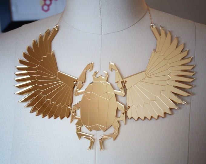 Laser Cut Gold Mirror Acrylic Scarab Beetle Bib Necklace / Geometric Statement Necklace / Modern Egyptian Jewelry / Low Poly