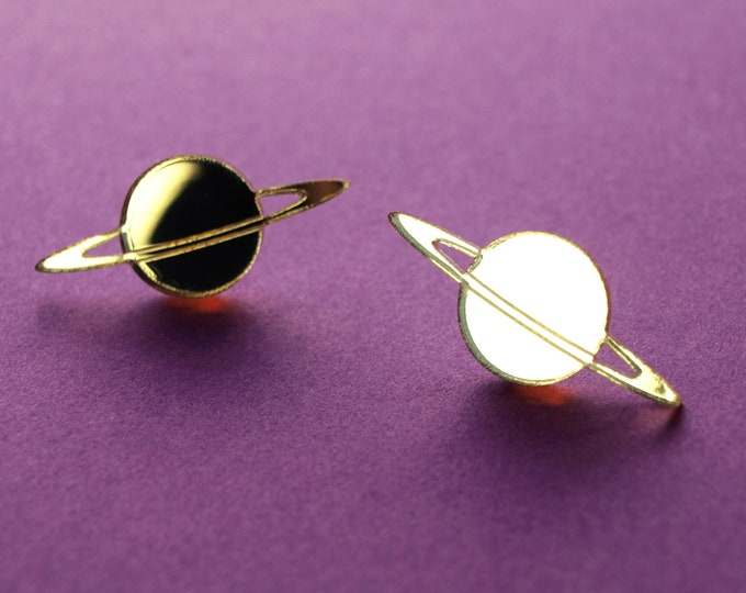 Laser Cut Gold Mirror Acrylic Saturn Planet Stud Earrings / Stainless Steel Posts / Space Jewelry / Celestial Earrings / Minimalist & Modern
