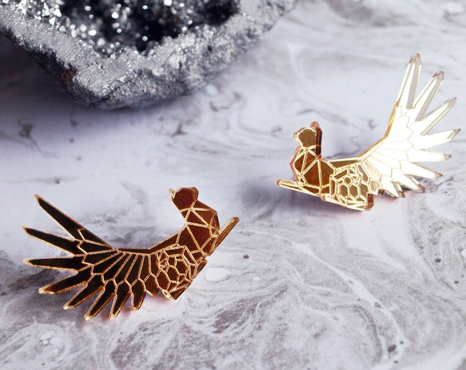 Laser Cut Gold Mirror Acrylic Winged Egyptian Cat Ear Climbers / Geometric Earrings / Stainless Steel Posts / Modern Cat Jewelry / Low Poly