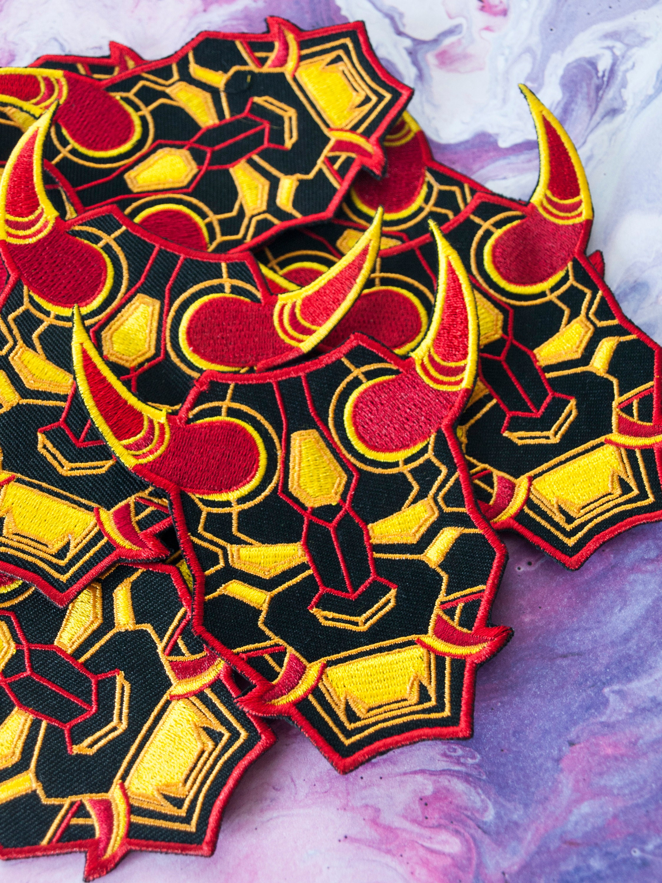 Mecha Oni Mask Embroidered Patch Neon Red Demon Mask Japanese