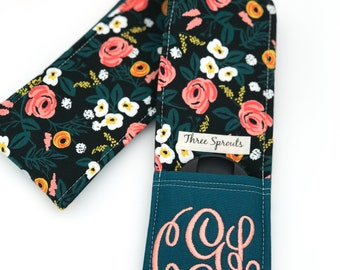 Camera Strap, Camera Strap Cover, Monogrammed Camera Strap, Padded Camera Strap, Rifle Paper Co Fabric -Painted Roses