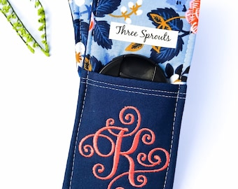 Camera Strap, Camera Strap Cover, Monogrammed Camera Strap, Padded Camera Strap, Rifle Paper Co Fabric -Periwinkle Birch Floral