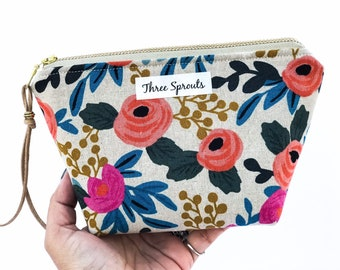 Essential Oil Bag, Essential Oil Case, Essential Oil Kit, Essential Oil Storage, Oil Bag, Rifle Paper Co Fabric -Rosa Floral Canvas Natural