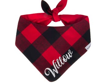 Dog Bandana Personalized, Buffalo Plaid Dog Bandana Personalized, Dog Bandana with Pets Name, Monogram Dog Bandana, New Puppy Gift