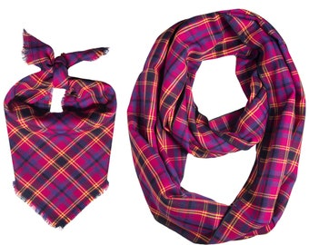Dog Match Owner Fall Plaid Infinity Scarf Thanksgiving Match Dog Owner Fall Plaid Dog Bandana Fall Owner Dog Matching Scarf Match Dog