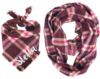 Matching Dog and Owner Personalized Bandana and Infinity Scarf Set, Fall Winter Plaid Fray Owner Dog Matching, Dog and Owner Matching Set