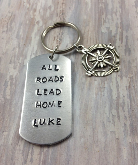 New Driver Key Chain Come Home Teen Birthday Gift Small For Teenager Hand Stamped Keychain