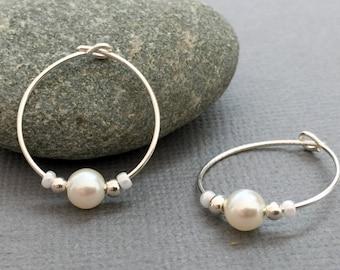 Sterling Silver Hoops, Classic Hoops, Silver Pearl Earrings, Elegant White Pearl Hoops, Pearl Earrings, White Pearl Bridesmaid Earrings