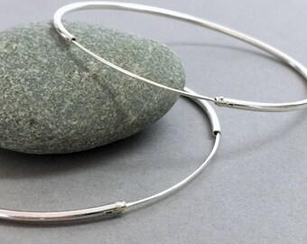 Large sterling silver hoops, Extra large silver hoop earrings, Silver hoops, Bohemian jewelry, Handmade silver modern hoops,