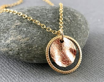 Gold Chain Necklace, Rose Gold Necklace, Gold Circle Pendant, Gold Necklace, Dainty Gold Circle Necklace, Double Circle Gold Necklace