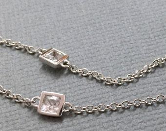 Sterling Silver Necklace, Crystal Necklace, Bridal Necklace, Tiny CZ Necklace, Cubic Zirconia CZ Station Necklace, Bridal Wedding Jewelry