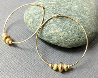Beaded Gold Hoop Earrings Minimal Gold Hoops Gold Hoop Earrings Simple Dainty Everyday Jewelry Large Hoops Earrings Bridesmaids Gift for Her
