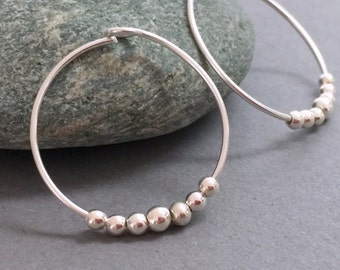 Sterling Silver Small Hoops Silver Hoop Earrings Sterling Silver Hoop Earring Beaded Hoop Earrings Bridesmaids Earrings Everyday Earrings