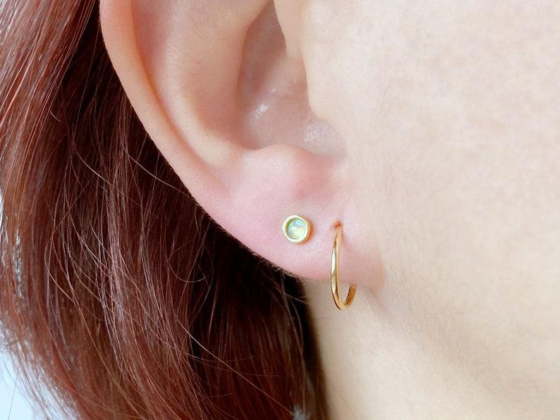 Opal Studs Minimalist Earrings Small Studs Gold Stud Earrings Opal Earrings Everyday Earrings Tiny Gold Earrings Simple Studs