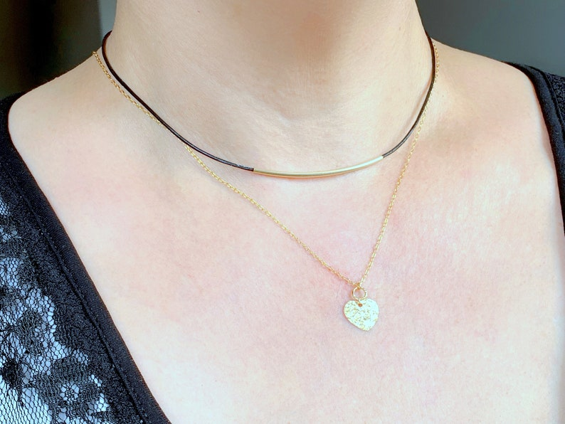 Layering Necklace Gold Choker Necklace Cord Necklace Leather Choker Minimalist Necklace Everyday Necklace Dainty Bar Necklace