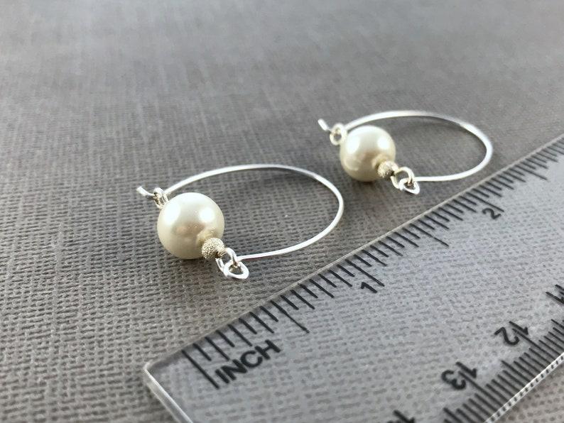 Silver Hoop Earrings White Pearl Earrings Drop Pearl Earrings Sterling Silver Pearl Earrings Earrings Dangle Wedding Earrings